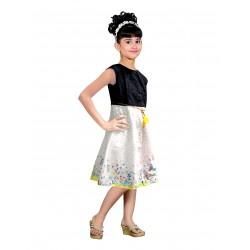 AD & AV Girls Midi/Knee Length Casual Dress BM WHITE MODEL (361)