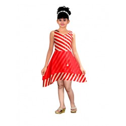 AD & AV Girls Midi/Knee Length Casual Dress RED STRIPE FROCK (362)