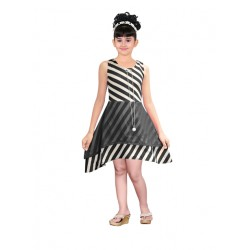 AD & AV Girls Midi/Knee Length Casual Dress BLACK STRIPE FROCK (365)
