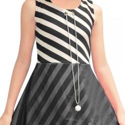 AD & AV Girls Midi/Knee Length Casual Dress BLACK STRIPE FROCK (365)