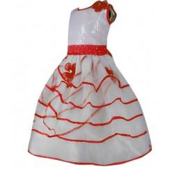 AD & AV Girls Midi/Knee Length Party Dress  (WHITE, Sleeveless) (382)