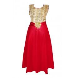 AD & AV Girls Midi/Knee Length Party Dress  (RED, Sleeveless) (385)