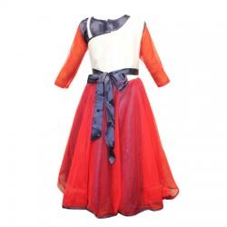 AD & AV Girls Midi/Knee Length Party Dress  (Multicolor, 3/4 Sleeve) 409