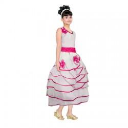 AD & AV Girls Midi/Knee Length Party Dress  (WHITE, Sleeveless) (422)