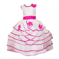 AD & AV Girls Midi/Knee Length Party Dress  (WHITE, Sleeveless) (423)