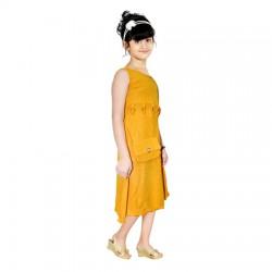 AD & AV Girls Midi/Knee Length Party Dress  (GOLD, Sleeveless) (448)