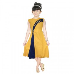 AD & AV Girls Midi/Knee Length Party Dress  (GOLD, Sleeveless) (449)