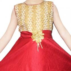 AD & AV Girls Midi/Knee Length Party Dress  (RED, Sleeveless) (450)