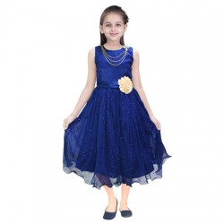 AD & AV Girls Midi/Knee Length Casual Dress NEVY  SPARKEL (537)