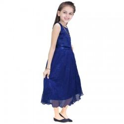 AD & AV Girls Midi/Knee Length Casual Dress NEVY  SPARKEL (537)