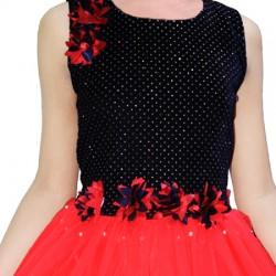 AD & AV Girls Midi/Knee Length Casual Dress  red moti (539)