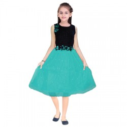 AD & AV Girls Midi/Knee Length Casual Dress green  moti (539)