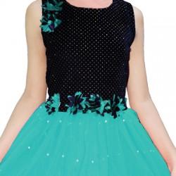 AD & AV Girls Midi/Knee Length Casual Dress green  moti (539)