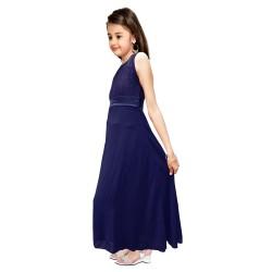 AD & AV Girls Midi/Knee Length Casual Dress  BLUE PLAIN GOWN (565)