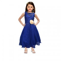 AD & AV Girls Midi/Knee Length Casual Dress BLUE SPARKEL (567)