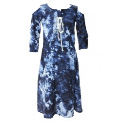 AD & AV Girls Midi/Knee Length Casual Dress BLUE DENIM FROCK (605)