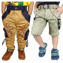 Short For Boys Casual Solid Cotton GOLDEN CARGO AND DENIM SHORTS