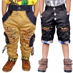 Short For Boys Casual Solid Cotton GOLDEN CARGOAND BLACK SHORTS