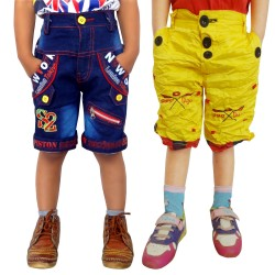 Short For Boys Casual Solid Cotton JEANS_YELLOW_SHORTS (Multicolor, Pack of 2)