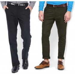 Regular Fit Men Dark Green, Black Trousers