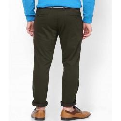 Regular Fit Men Dark Green, Black Trousers