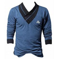 AD & AV Solid Men's V-neck BLUE T-Shirt FS (631)