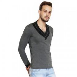 AD & AV Solid Men's CHINIES NECK GREY T-Shirt FS (664)