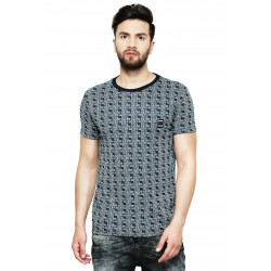 AD & AV Checkered Men's Round Neck Multicolor T-Shirt (705)
