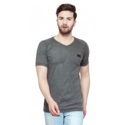 AD & AV Solid Men's V-neck Grey T-Shirt HS (722)