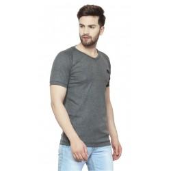 AD & AV Solid Men's V-neck Grey T-Shirt HS (722)