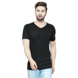 AD & AV Solid Men's V-neck Black T-Shirt HS (723)