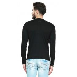 AD & AV Solid Men's Henley Black T-Shirt (726)