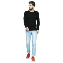 AD & AV Solid Men's Henley Black T-Shirt OD CUT  (727)