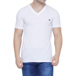 AD & AV Solid Men's V-neck WHITE T-Shirt HS
