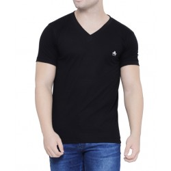AD & AV Solid Men's V-neck BLACK T-Shirt HS