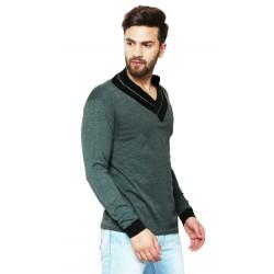 AD & AV Solid Men's V-neck GREY T-Shirt FS (703)