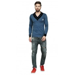 AD & AV Solid Men's V-neck BLUE T-Shirt FS (704)