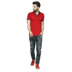 AD & AV Solid Men's V-neck RED T-Shirt HS (713)