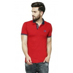AD & AV Solid Men's V-neck RED T-Shirt HS (713)
