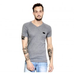 AD & AV Solid Men's V-neck GREY T-Shirt HS (662)