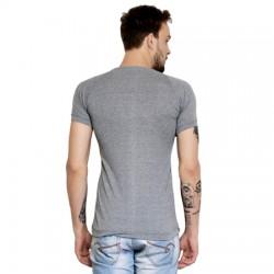 AD & AV Solid Men's V-neck GREY T-Shirt HS (662)
