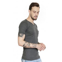 AD & AV Solid Men's V-neck GREY T-Shirt HS (660)