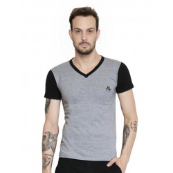 AD & AV Solid Men's V-neck nevy T-Shirt HS (662)