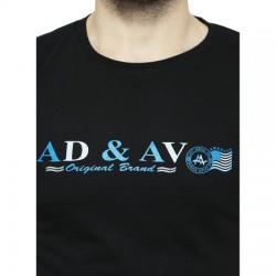 AD & AV Solid Men's U-neck BLACK T-Shirt HS (719)