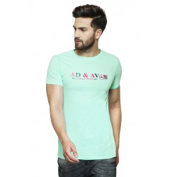 AD & AV Solid Men's U-neck GREEN T-Shirt HS (719)