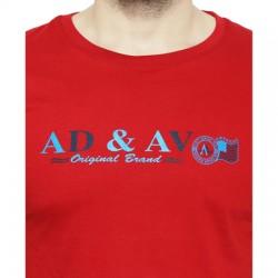 AD & AV Solid Men's U-neck RED T-Shirt HS (721)