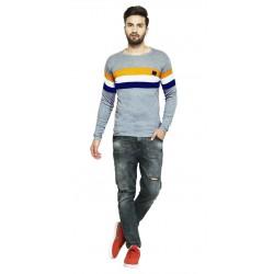 AD & AV Solid Men's U-neck GREY T-Shirt FS (710)