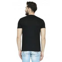 AD & AV Printed Men's Round Neck Black T-Shirt (714)