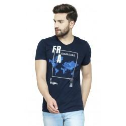 AD & AV Solid Men's V-neck NAVY T-Shirt HS (716)