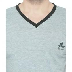 AD & AV Solid Men's V-neck GREY T-Shirt HS (730)